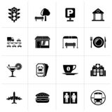 Black Urban and city elements icons. Vector icon set stock illustration