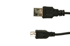Black usb cable isolated on white Royalty Free Stock Photo