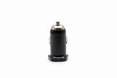 Black USB car charger isolaged on white. Black USB car charger isolated on white background Royalty Free Stock Photos