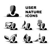 Black user nature glossy icon set Stock Photography