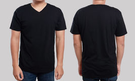Black V-Neck shirt design template. Black t-shirt mock up, front and back view, isolated. Male model wear plain black shirt mockup. V-Neck shirt design template stock photo