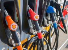 Black V-power Nitro plus oil dispenser of Shell gas station company close up in Bangkok, Thailand October 3, 2016. The Black V-power Nitro plus oil dispenser of royalty free stock photos