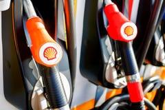 Black V-power Nitro plus oil dispenser of Shell gas station company close up in Bangkok, Thailand October 3, 2016. The Black V-power Nitro plus oil dispenser of stock photo