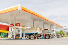 Black V-power Nitro plus oil dispenser of Shell gas station company close up in Bangkok, Thailand October 3, 2016. The Black V-power Nitro plus oil dispenser of royalty free stock image