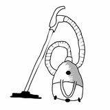 Black Vacuum Cleaners. Hoover hand drawn  on white background. Vector Illustration.  Royalty Free Stock Photography