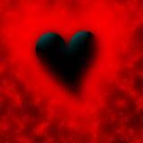 Black valentine. Black heart on a red background for valentine Stock Photo