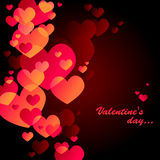 Black valentine's day card. With red hearts Royalty Free Stock Image