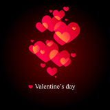 Black valentine's day card. With red hearts Royalty Free Stock Photography
