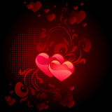 Black valentine's day card. With two red hearts Stock Photography
