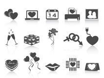 Black Valentines day icons. Black Valentines day icons on white background Royalty Free Stock Images