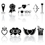 Black Valentines icons. Set of black Valentines icons on white background, illustration stock illustration