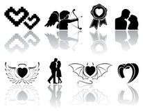 Black Valentines icons. Set of black Valentines icons on white background, illustration royalty free illustration