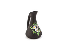 Black vase with flower drawing. On a white background royalty free stock images