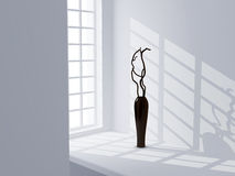 Black vase in a white room Royalty Free Stock Photography