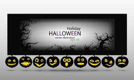 Black vector banners with pumpkins on Halloween. Black vector banner with black pumpkins for Halloween vector illustration