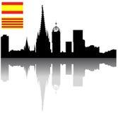 Black vector Barcelona slihouette skyline Stock Images