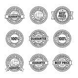 Black vector best price premium quality guarantee label set Stock Photos