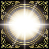 Black vector card with gold floral decor and flash Royalty Free Stock Image