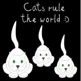 Black vector card with three white cats and funny text Royalty Free Stock Images