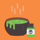 Black vector cauldron with green witches magic broth witchcraft horror potion cooking boiler. Illustration. Halloween background witch treasure liquid boiling Stock Photo