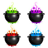 Black Vector Cauldrons Set With Colorful Witches Stock Photography