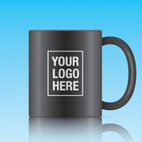 Black vector coffee mug. Template  on a blue background. Vector mug mockup for your logo design Stock Photos