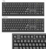Black Vector Computer keyboards RUS/ENG Stock Photo