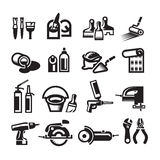 Black vector construction icon set. Authors illustration in vector Royalty Free Stock Photos
