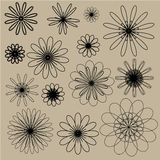Black vector doodle flowers on the beige background Stock Images
