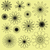 Black vector doodle flowers on the soft yellow background Royalty Free Stock Images