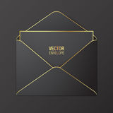 Black vector envelope template. Black opened envelope with golden elements, lying on a red background. Realistic mockup stock illustration