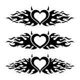 Black vector flaming heart love designs Royalty Free Stock Photography