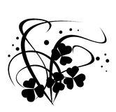 Black vector floral illustration on white Royalty Free Stock Photos