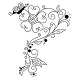 Black vector hand drawn flower. Black vector hand drawn doodle flower Stock Photo