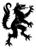 Heraldic wolf simple. Black vector heraldic rampant wolf on the white background royalty free illustration