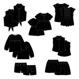 Black vector kids clothes. Stock Images