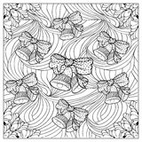Black vector mono color illustration.Adult Coloring book page design Royalty Free Stock Photography
