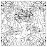 Black vector mono color illustration.Adult Coloring book page design Royalty Free Stock Photo