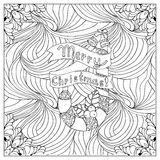 Black vector mono color illustration.Adult Coloring book page design. For adults or kids. Vector template.Ornamental border and frame Stock Image