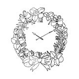 Black vector mono color illustration with christmas wreath for Merry Christmas and Happy New Year 2016 print design. Stock Photos