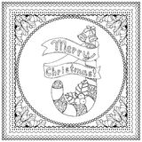 Black vector mono color illustration for Merry Christmas. And Happy New Year 2016 print design. Coloring book page design for adults or kids. Vector template Stock Photos