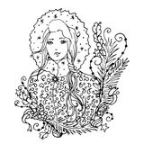 Black vector mono color illustration with Snow Maiden lady for Merry Christmas and Happy New Year 2016 print design. Coloring book page design for adults or Royalty Free Stock Image