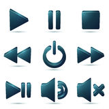 Black vector plastic navigation symbols set Stock Photography