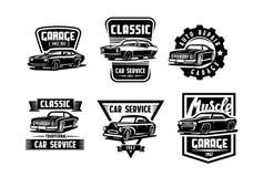 Black vector retro car stock illustration