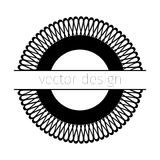 Black vector rosette. On white background with place for text Stock Images