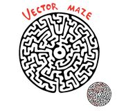 Black vector round maze Stock Photo