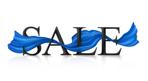 Black vector SALE sign with blue silky ribbon trough it Stock Photos