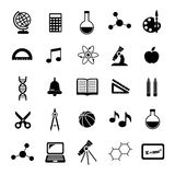 Black vector school icons set Royalty Free Stock Photo