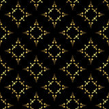 Black vector seamless pattern with golden elements Royalty Free Stock Photo