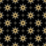 Black vector seamless texture with golden elements Royalty Free Stock Image